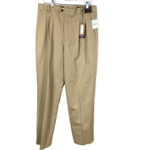 Nordstrom Khaki Smartcare Chino Pants Pleated 34